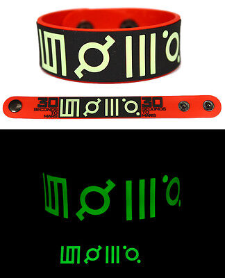 30 SECONDS TO MARS Rubber Bracelet Wristband Glows in the Dark Red