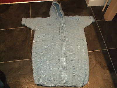Original Vintage Wool Baby Blue Babies Sleep Sac Sleeping Bag Heavy Knit