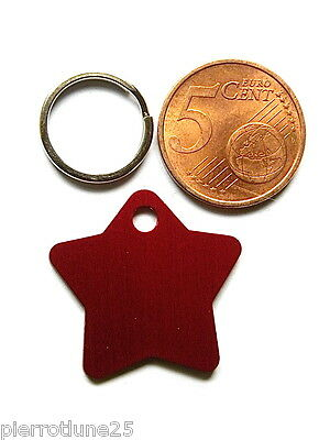 MEDAILLE GRAVEE STAR CHAT CHATON CHIOT ETOILE ROUGE (PM)  gravure 1 ou 2 face