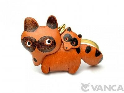 Raccoon Family Handmade 3D Leather (L) Keychain/ring *VANCA* Made in Japan#56871
