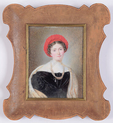 """""""Lady in red turban"""", Russian portrait miniature on natural material, ca. 1825"""