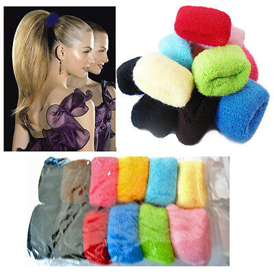 12* Girls Hair Bands Thick Bobbles Pack Snag Free Pony Tail Elastic Stretchy NEW