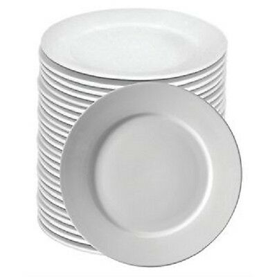 "Bulk Buy Deal - Box 72 Wide Rim White Hotelware Catering Plates 9"" Diameter"