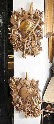 Pair French Gilt Carved Heraldic Wall Display • CAD $555.35
