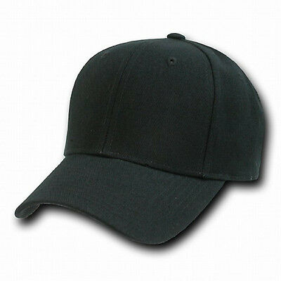 4790ea30a24 Black Plain Solid Fitted Curved Bill Baseball Cap Caps Hat Hats -8 SIZE  CHOICES