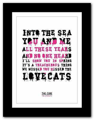THE CURE The Lovecats ❤ song lyrics typography poster art print - A1 A2 A3 or A4