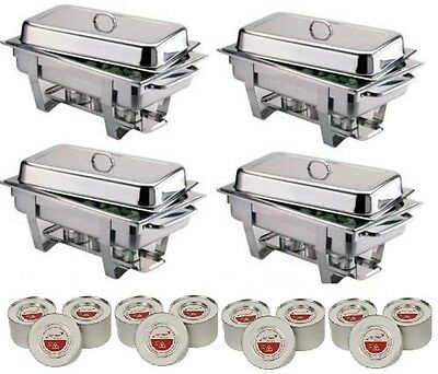 Four S/Steel Chafing Dishes And 12 Tins Of Fuel **Free Next Day Delivery**