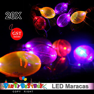 20x LED Maracas Flashing Lanyard Light Up Neon Shake Toy Cheering Party Concert