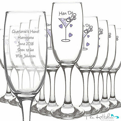 Personalised Hen Do Glasses Toast Flute - Hen Party Champagne Flutes - Keepsakes