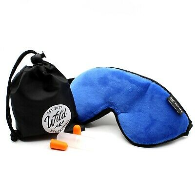 Dream Essentials Escape  Travel Sleep Mask w/ Carry Pouch Earplugs-Navy Blue