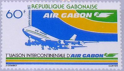 GABON GABUN 1977 619 C193 Airline 1st Intercontinental Route Airplane Plane MNH