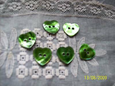 6 Green Heart Agoya/Mother of Pearl Buttons