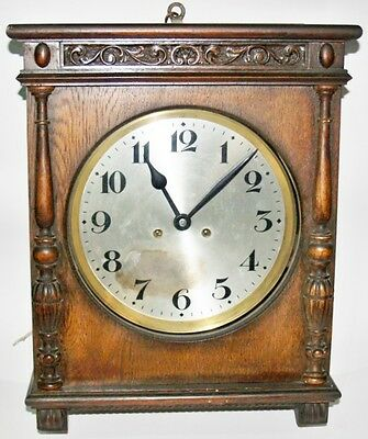 Antique Wall Wind Up Clock Alix Made Wooden Wood Work Good Watch.