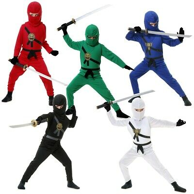Kids Ninja Avenger Costume Martial Arts Warrior Halloween Fancy Dress