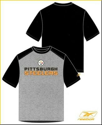 Pittsburgh Steelers Reebok Two-Toned T-Shirt 2263A, Black/Gray, Medium Only NEW