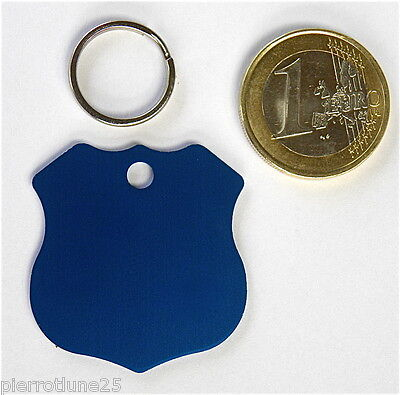 MEDAILLE GRAVEE CHIEN BLEU INSIGNE POLICE GRAND MODELE gravure 1 ou 2 face