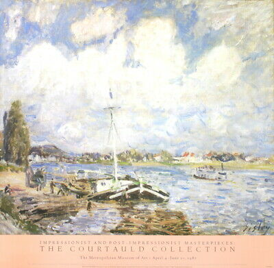 "ALFRED SISLEY Boats of the Seine 30"" x 31"" Poster 1995 Impressionism Blue,"