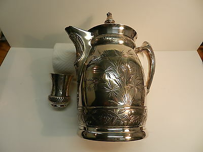 Wm. Rogers Water Pitcher and Cup,Repousse,Silver