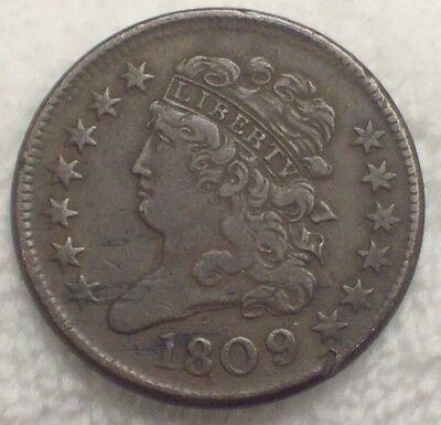 1809 over 6 HALF CENT VF detailing Orig nice color/tone *RARE* C-5 1809/6 HC