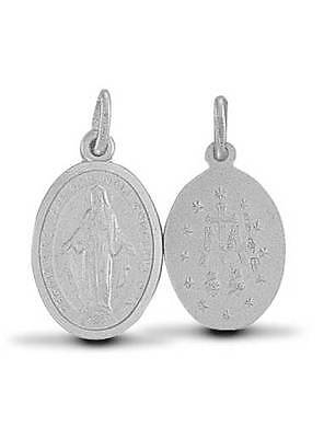 Sterling Silver Miraculous Medal Virgin Mary Pendant Charm Belcher Curb Chain