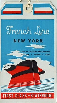 """Vintage CGT FRENCH LINE SS """"France"""" 1st Class Baggage Tag"""