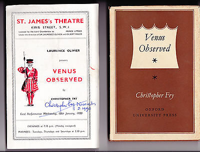 Christopher Fry - Venus Observed - SIGNED to title page with SIGNED Programme