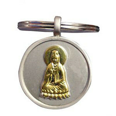 Golden Quan Yin on Silver Keyring for compassion healing and mercy(KR050)
