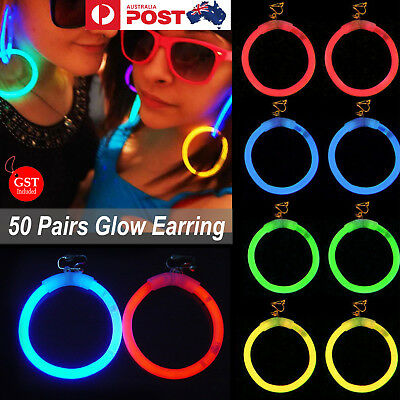 50 Pairs Glow Earring Lights Up Glow sticks Disco Dance Party Glow In The Dark