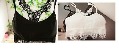Women Ladies Lace Crocheted Scalloped Hem Bralette Cropped Top