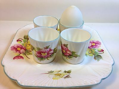 Unusual Shelley China Egg Cup Tray with 4  Cups in Begonia Pattern No. 13427