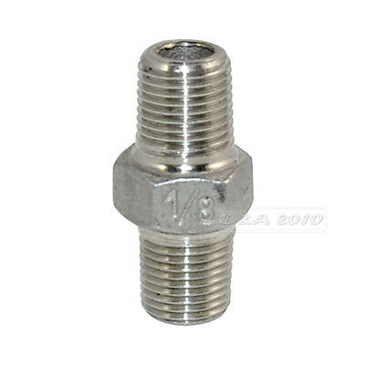 "1/8"" Male x 1/8""  Male Hex Nipple Stainless Steel 304 Threaded Pipe Fitting NPT"
