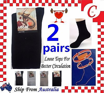 2Pr Mens MEN Cotton Medical Circulation Diabetic LOOSE TOP SOCKS King size 11-14
