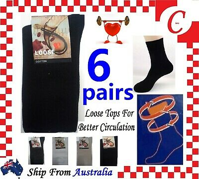8Pr Mens MEN Cotton Medical Circulation Diabetic LOOSE TOP SOCKS King size 11-14