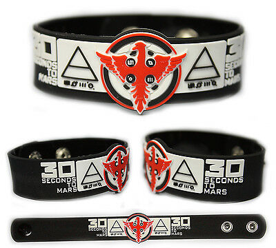 30 SECONDS TO MARS Rubber Bracelet Wristband   Kings and Queens   Black/White