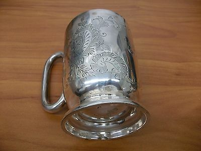 Vintage Marked (Atkin Bros) English Silverplate Etched Floral Design Cup.