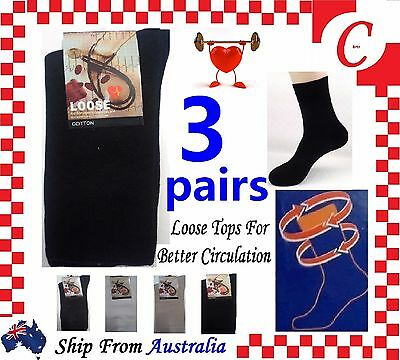 3 Pairs Women Cotton Medical Circulation Diabetic LOOSE TOP SOCKS size 2-8 Bulk