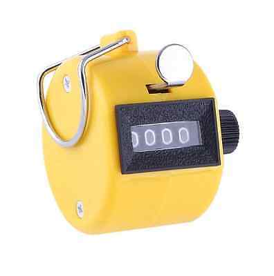 2x New 4 Digit Hand Tally Counter Manual Clicker Yellow Palm Golf