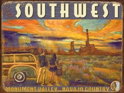See The Southwest, Monument Valley Navajo Country (Enameled Steel Sign)