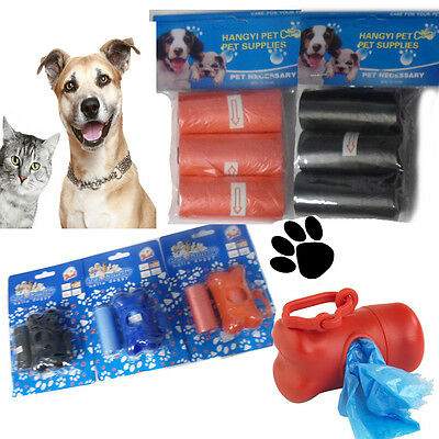 Dog Cat Poo Carrier Bags Pet's Waste Bag Dispenser Scoop Refill Poop Clip Bone