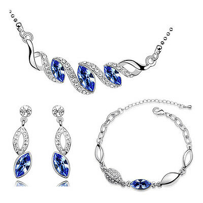 Silver & Royal Blue Teardrop Jewellery Set Drop Earrings Necklace Bracelet S497