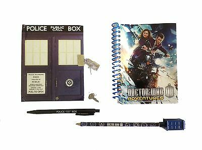 Doctor Who TARDIS NOTEPAD, Pen & Pencil Stationary Set - Notebook - NEW