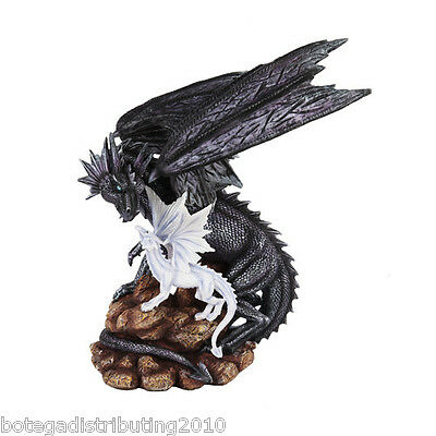"""Mystical Black Dragon Statue Protecting Young Figurine 14 3/4"""""""