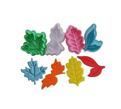 Ejector Plunger Cutters in Leaf Design, 4 Cutters in Pack, Pastry, Sugarcraft