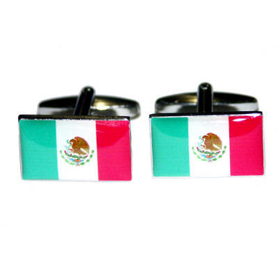 Green, White & Red Mexico Flag Cufflinks With Gift Pouch Mexican Country New