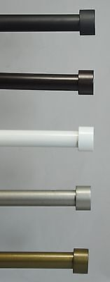 "Urbanest Steel End Cap Window Drapery Curtain Rod Set 5/8"" Dia. 3 sizes 5 colors"