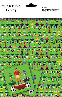 Subbuteo Football Gift Wrap 2 Sheets 2 Tags / Wrapping Paper Pack