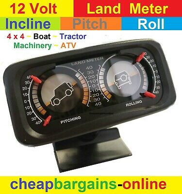 Land Meter 4Wd 4X4 Boat Atv Tractor Pitch Roll Incline Meter Slope Angle Gauge