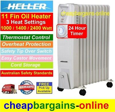 New Heller Electric Oil Heater Portable 2400W 11 Fin 3 Heat Settings Thermostat