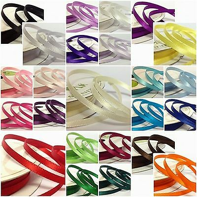 1 x 10 metre Roll of 3mm or 6mm Double Sided Faced Satin Ribbon Wedding Floral