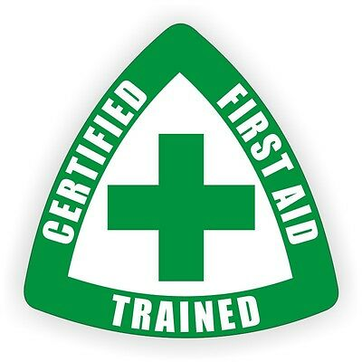 Certified First Aid Trained Hard Hat Decal - Helmet Sticker Safety Labels CPR